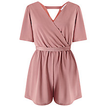 Buy Miss Selfridge Petite Slinky Wrap Playsuit, Mink Online at johnlewis.com
