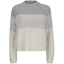 Buy Jaeger Wool Textured Stripe Jumper, Grey Online at johnlewis.com