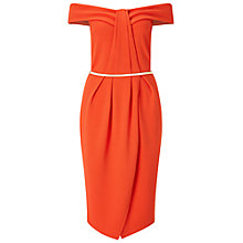 Buy Miss Selfridge Pleat Bandeau Wrap Dress, Orange Online at johnlewis.com