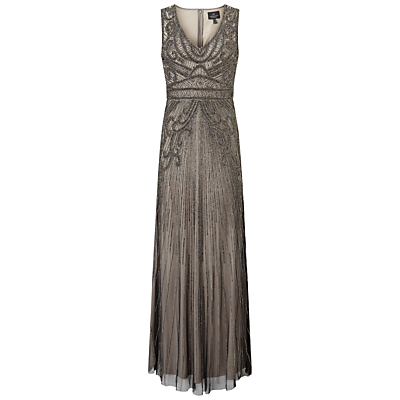 1920s Formal Dresses Guide Adrianna Papell Fully Beaded Sleeveless Gown Platinum £340.00 AT vintagedancer.com