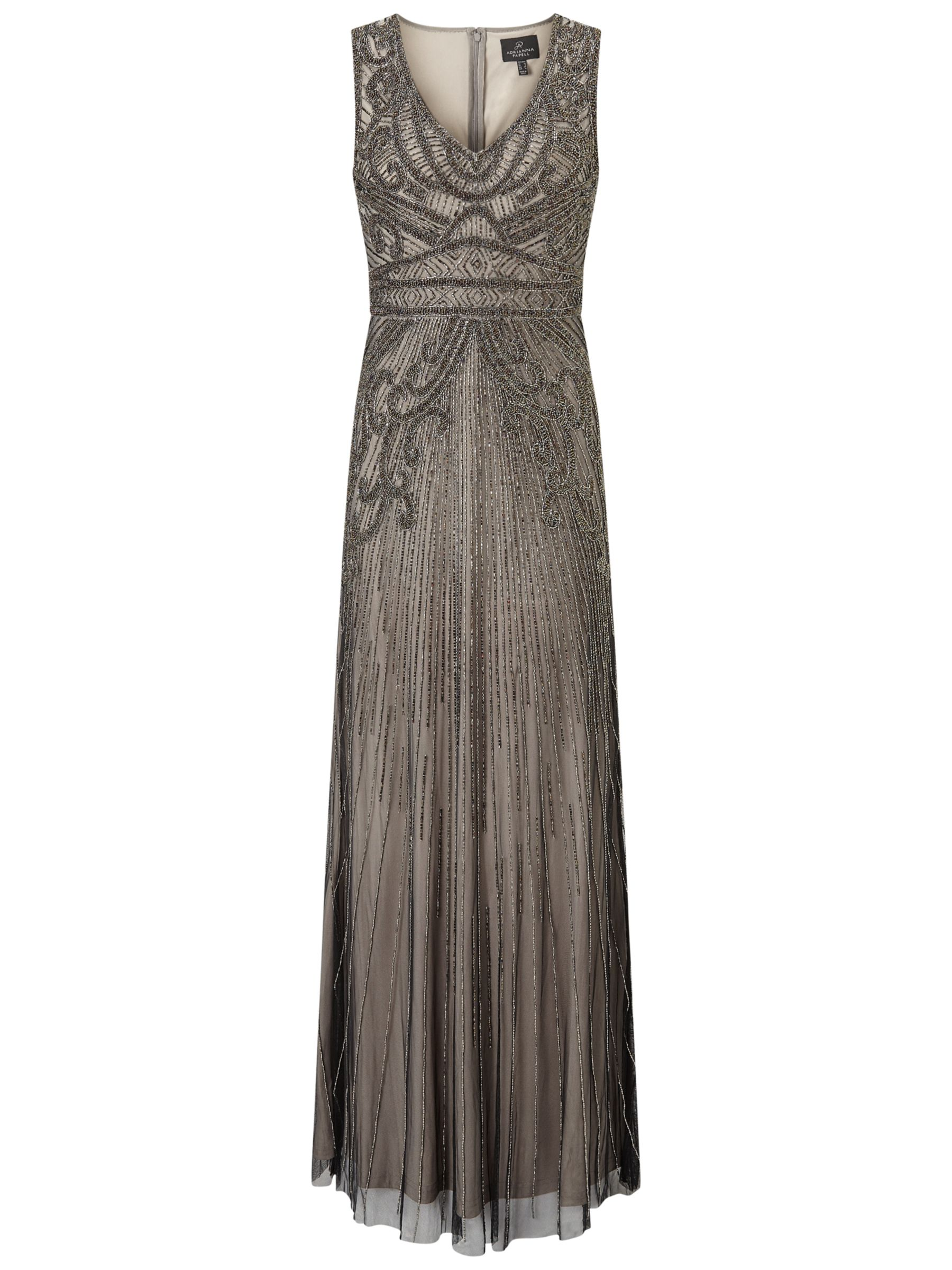 Adrianna Papell Adrianna Papell Fully Beaded Sleeveless Gown, Platinum