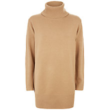 Buy Jaeger Long Wool Cape Back Jumper, Camel Online at johnlewis.com