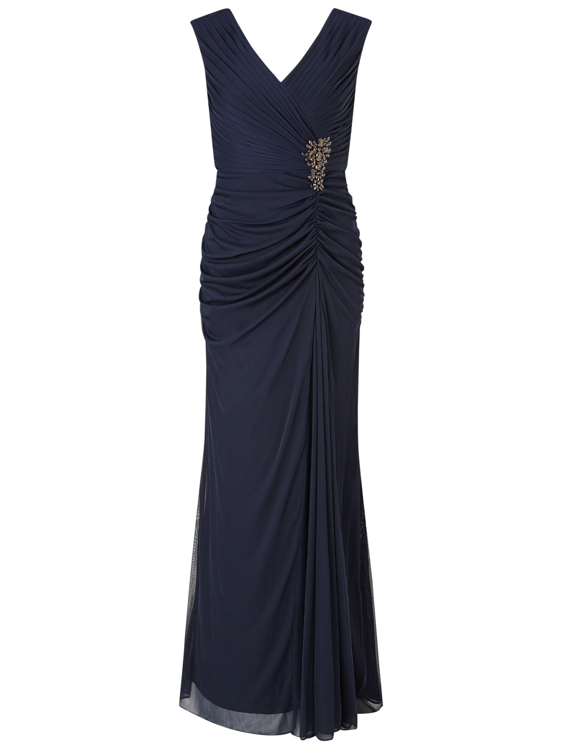 Adrianna Papell Adrianna Papell Cap Sleeve Shirred Gown With Beaded Detail, Ink