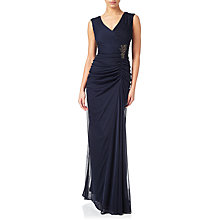 Buy Adrianna Papell Cap Sleeve Shirred Gown With Beaded Detail, Ink Online at johnlewis.com
