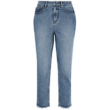 Buy Jaeger Raw-Hem Cropped Jeans, Mid Blue Online at johnlewis.com