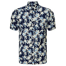 Buy Edwin Standard Palm Tree Print Short Sleeve Shirt, Dark Indigo Online at johnlewis.com
