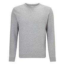 Buy Sunspel Loopback Cotton Sweatshirt, Grey Melange Online at johnlewis.com