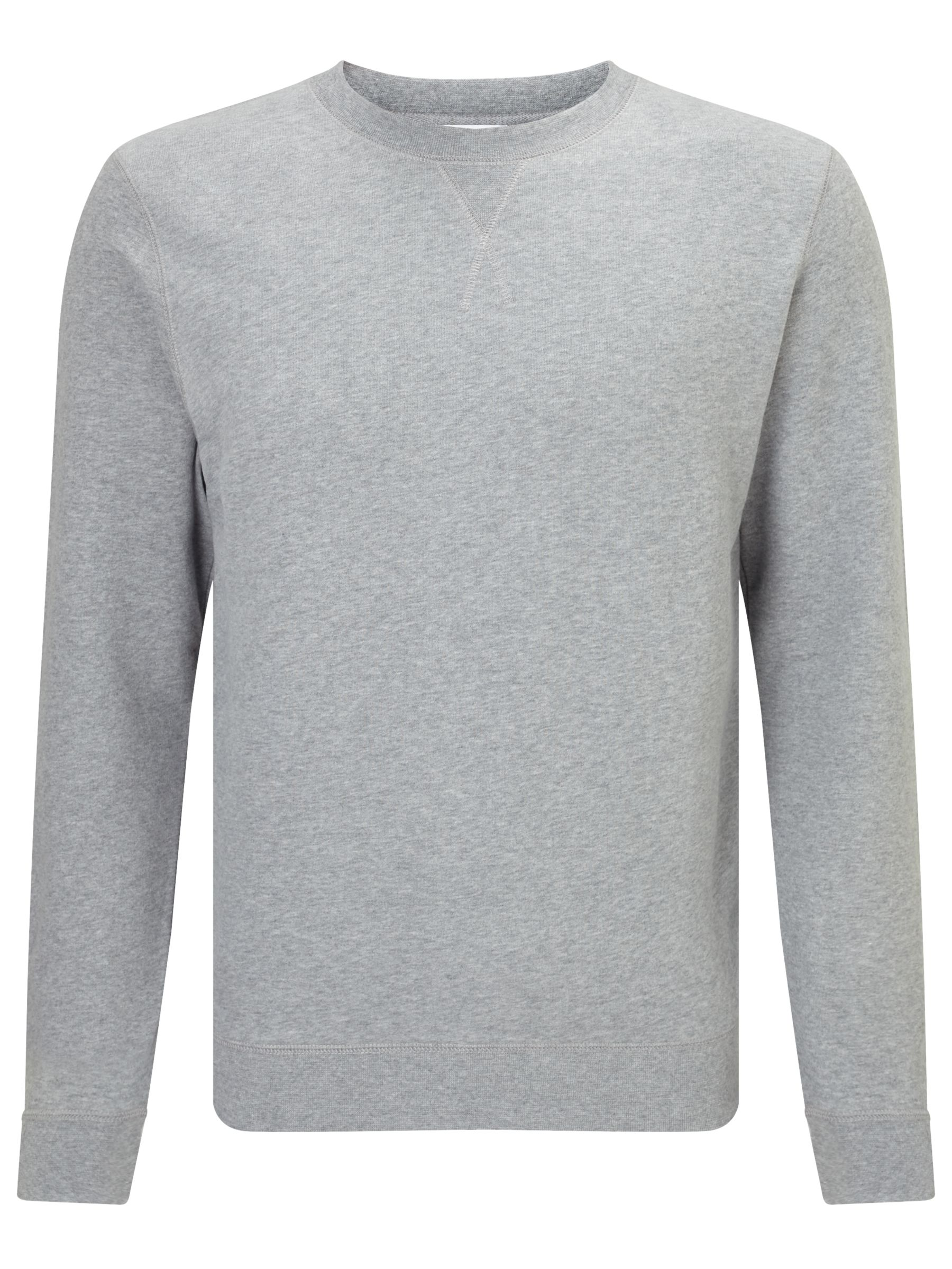 Sunspel Sunspel Loopback Cotton Sweatshirt, Grey Melange