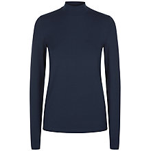 Buy Jaeger Jersey Ribbed Funnel Neck Top, Midnight Online at johnlewis.com