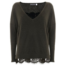 Buy Mint Velvet V-Neck Jumper With Cami, Dark Green Online at johnlewis.com