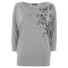 Buy Mint Velvet Butterfly Print Batwing Top, Grey Online at johnlewis.com