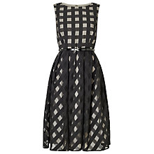 Buy Precis Petite Carley Check Flared Dress, Black Online at johnlewis.com