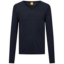 Buy BOSS Orange Klasht V-Neck Linen Jumper Online at johnlewis.com