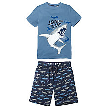 Buy Fat Face Children's Shark Shortie Pyjamas, Navy Online at johnlewis.com