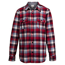 Buy Fat Face Boys' Long Sleeve Dylan Brushed Shirt, Red Online at johnlewis.com