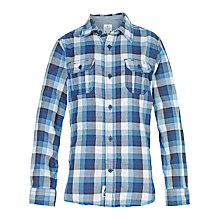 Buy Fat Face Boys' Long Sleeve Johnny Check Shirt, Blue Online at johnlewis.com