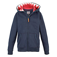 Buy Fat Face Boys' Shark Tooth Zip Through Hoodie, Navy Online at johnlewis.com