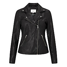 Buy Numph Ermanga Leather Jacket, Caviar Online at johnlewis.com