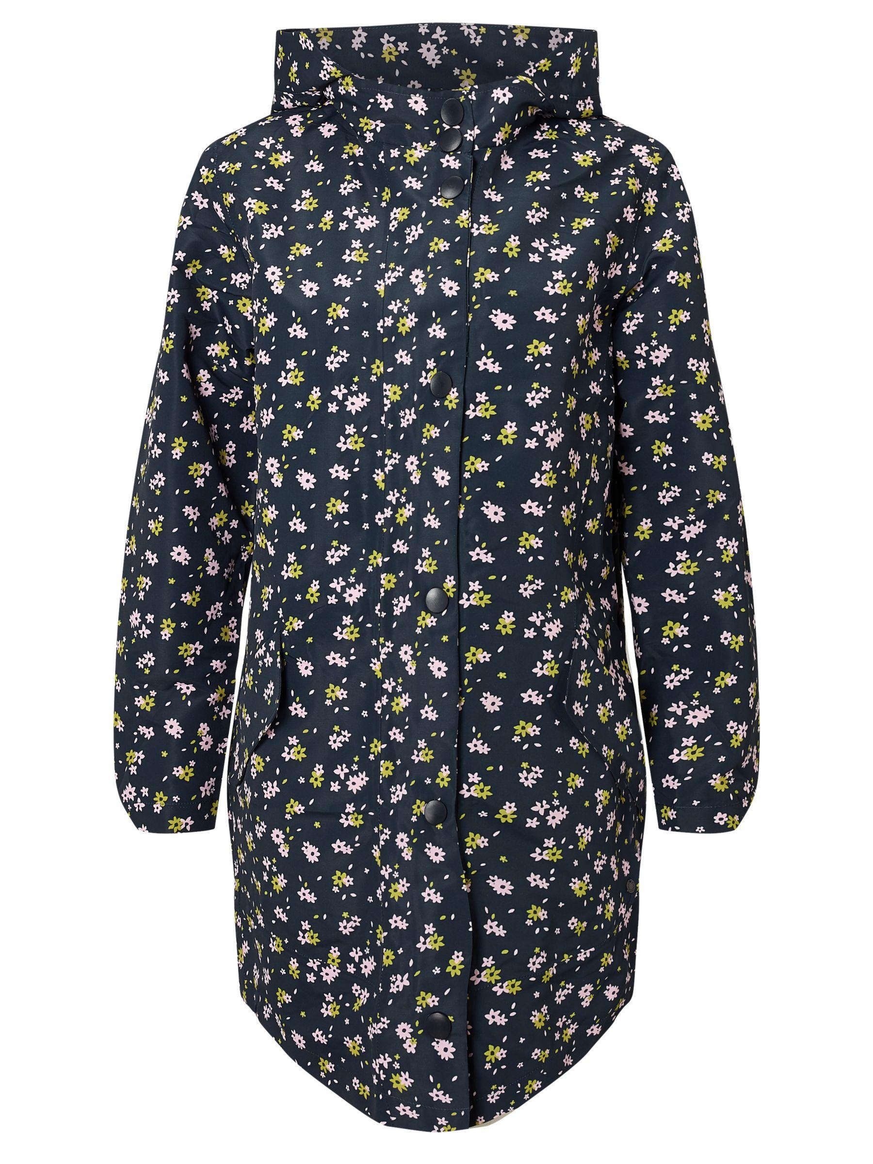 Numph Numph Morganie Floral Print Coat, Dark Sapphire