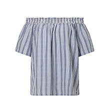 Buy Numph Shoya Stripe Blouse, Blue Stripe Online at johnlewis.com