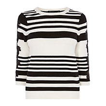 Buy Karen Millen Lace Detail Stripe Jumper, Black Online at johnlewis.com
