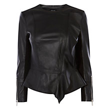 Buy Karen Millen Leather Drape Front Jacket, Black Online at johnlewis.com