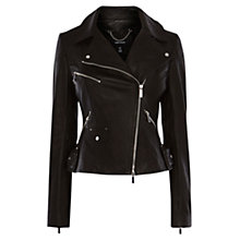 Buy Karen Millen Signature Leather Biker Jacket, Black Online at johnlewis.com