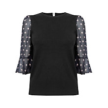 Buy Oasis Spot Fluted Sleeve Knit Top, Multi/Black Online at johnlewis.com