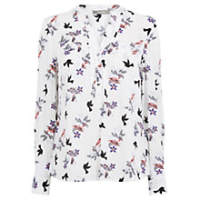 Buy Oasis Bird Bouquet Print Shirt, Multi/Natural Online at johnlewis.com