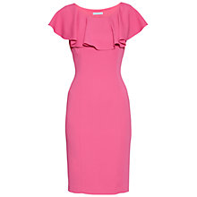 Buy Gina Bacconi Moss Crepe Dress With Frill Collar, Pink Online at johnlewis.com