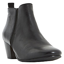 Buy Dune Perdy Block Heeled Ankle Boots, Black Leather Online at johnlewis.com