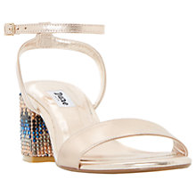 Buy Dune Marble Block Heeled Sandals, Rose Gold Online at johnlewis.com