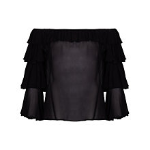 Buy Ghost Kat Frill Top, Black Online at johnlewis.com