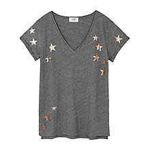 Buy hush Star Slub V-Neck T-Shirt, Mid Grey Marl/Metallic Gold Online at johnlewis.com