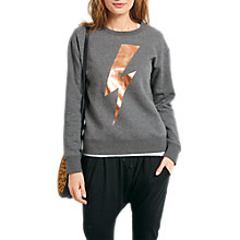 Buy hush Lightning Bolt Sweatshirt, Mid Grey Marl/Metallic Gold Online at johnlewis.com
