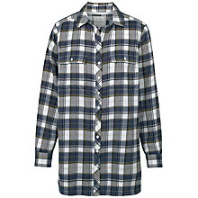 Buy Fat Face Tabitha Check Longline Shirt, Khaki Online at johnlewis.com