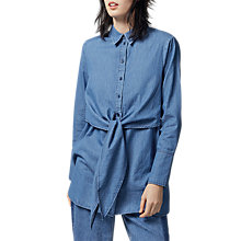 Buy Warehouse Tie Front Shirt, Mid Wash Denim Online at johnlewis.com