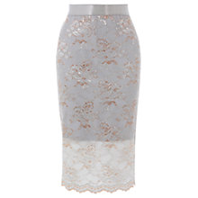 Buy Coast Halle Lace Pencil Skirt, Pale Blue Online at johnlewis.com
