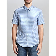 Buy BOSS Green C-Bustaino Dobby Check Shirt, Medium Blue Online at johnlewis.com