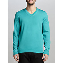 Buy BOSS Green Veeh_03 Water-Repellent Virgin Wool V-Neck Jumper, Open Blue Online at johnlewis.com