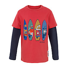 Buy Fat Face Boys' Long Sleeve Surf Board T-Shirt, Red Online at johnlewis.com