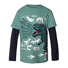 Buy Fat Face Boys' Long Sleeve 2 in 1 Dinosaur T-Shirt, Green Online at johnlewis.com