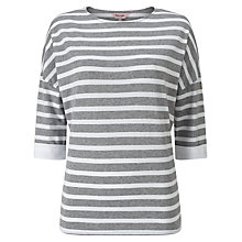 Buy Phase Eight Winifred Woven Back Stripe Top, Grey/White Online at johnlewis.com