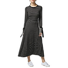 Buy Warehouse Tie Cuff Maxi Dress, Black Online at johnlewis.com