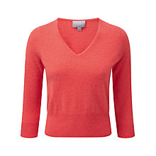 Buy Pure Collection Lucia Cropped Cashmere Jumper, Coral Twist Online at johnlewis.com