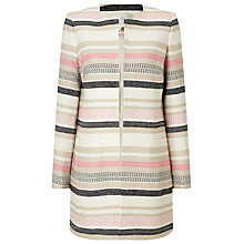 Buy Jacques Vert Stripe Textured Jacket, Cream/Multi Online at johnlewis.com