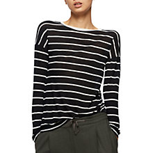 Buy Jigsaw Stripe Drop Sleeve Slim T-Shirt, Black Online at johnlewis.com