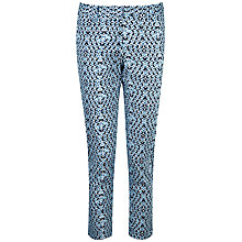Buy Pure Collection Heather Capri Trousers, Blue Geo Print Online at johnlewis.com