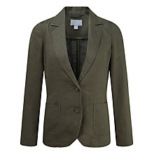 Buy Pure Collection Julianna Laundered Linen Jacket, Deep Khaki Online at johnlewis.com