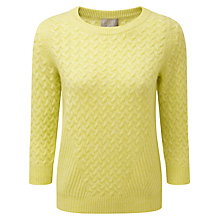 Buy Pure Collection Aubree Cashmere Cable Jumper, Heather Lemon Online at johnlewis.com